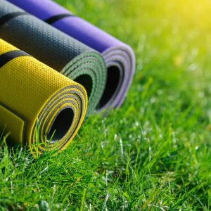 yoga mats outside 2