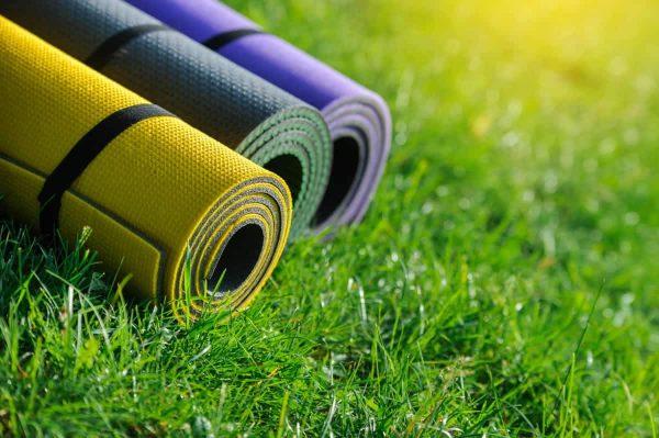 yoga mats outside 2